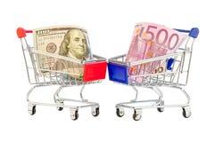 Euro i dolary wózek na zakupy Fotografia Stock