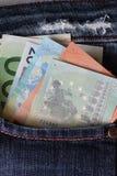 Euro i jeansfack Royaltyfria Bilder