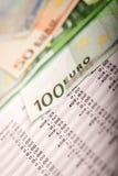 Euro i Pożyczkowy plan Zdjęcie Stock