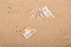 Euro i sanden Fotografering för Bildbyråer