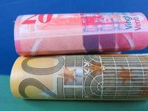 Euro i Szwajcarskiego franka banknoty Zdjęcie Royalty Free