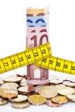 Euro i taśmy miara Obrazy Royalty Free