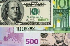 Euro i wyznania banknoty dolara amerykańskiego 100, 500 i 50, Fotografia Royalty Free