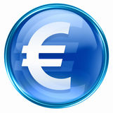 Euro icon blue Royalty Free Stock Image