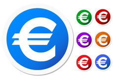 Euro icon. Collection of differently colored euro symbol icons, isolated on white background royalty free illustration