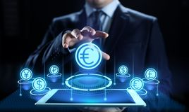 Euro icon on screen. Currency trading Exchange rate Forex business concept. royalty free stock image