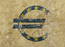 Euro and EU flag icon sign over grunge background Royalty Free Stock Photos