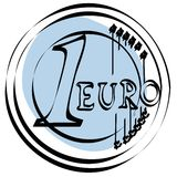 Euro icon vector. A sketch of euro coin - 1 euro + vector file Royalty Free Stock Photo