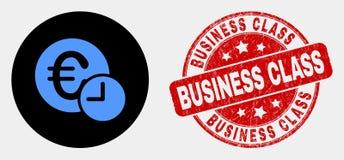 Euro icona di tempo di credito di vettore e guarnizione graffiata del bollo del Business class illustrazione vettoriale