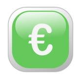 Euro icona quadrata verde vetrosa Immagini Stock Libere da Diritti