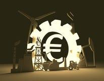 Euro icone di simbolo e di industriale dei soldi Fotografie Stock Libere da Diritti