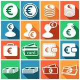 Euro icons. Set of flat colored simple web icons (euro sign, money, finance, banking),  illustration Royalty Free Stock Photos