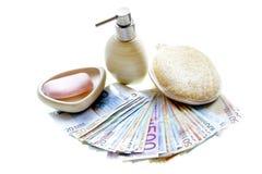 Euro ilegais do dinheiro da lavagem de dinheiro Foto de Stock Royalty Free