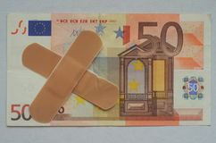 The euro ill treated by a patch Stock Photography