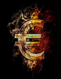 Euro, illustration of  number with chrome effects and red fire o. N black background Royalty Free Stock Photography