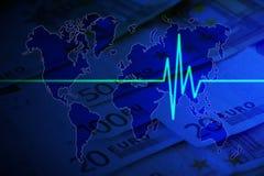 Euro impuls op wereld Stock Foto's