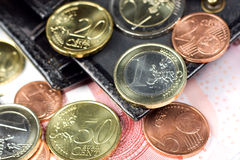 Euro In Wallet Royalty Free Stock Photography