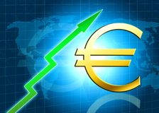 Euro increasing value illustration. With blue world map and green arrow Royalty Free Stock Image
