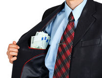 Euro in the inside pocket of his jacket Stock Photography