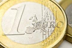 Euro instruction-macro de pièce de monnaie Photo libre de droits