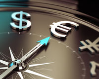Euro Investment Concept. Compass with needle pointing Euro symbol with blur effect. Illustration symbol of investment solutions Royalty Free Stock Photo