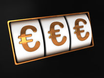 Euro jackpot. Abstract 3d illustration of euro signs jackpot Stock Photography
