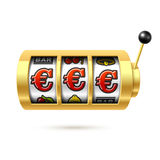 Euro jackpot on slot machine. Slot machine with euro jackpot on bright background Stock Images