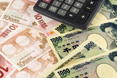 Euro and Japanese currency Stock Photo