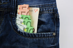 Euro in jeans Stock Image