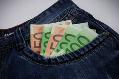 Euro in jeans Royalty Free Stock Photos