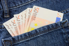 Euro Jeans. A close up of Euro notes in a back pocket Royalty Free Stock Photography