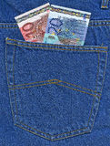Euro in a jeans pocket Royalty Free Stock Photos