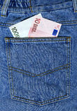 Euro in a jeans pocket Stock Image