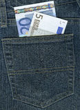 Euro in a jeans pocket Stock Photo