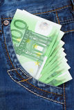 Euro in jeans pocket Royalty Free Stock Image
