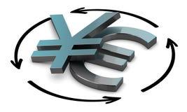Euro jen konwertyta royalty ilustracja