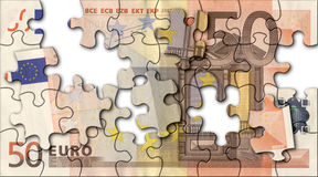 Euro jigsaw. Incomplete jigsaw of fifty euro Stock Photos