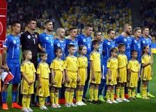 EURO 2016 juegos de calificación Ucrania contra Eslovaquia Fotos de archivo libres de regalías