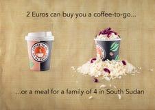 2 euro köper ett kaffe eller ett mål för 4 i södra Sudan vektor illustrationer