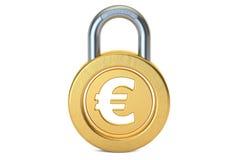 Euro kłódka, 3D rendering Obrazy Stock