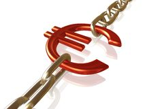 Euro in ketting Royalty-vrije Stock Foto's