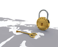 Euro key and lock Royalty Free Stock Photography