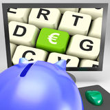 Euro Key On Monitor Shows European Exchange Stock Image