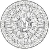 euro Kleurende pagina voor volwassenen Mandala om geld aan te trekken Royalty-vrije Stock Foto's