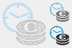 Euro Krediet Vector het Mozaïekpictogram van Mesh Network Model en van de Driehoek royalty-vrije illustratie