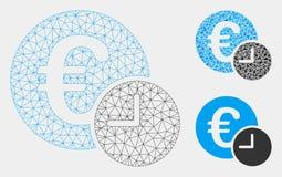 Euro Krediet Vector het Mozaïekpictogram van Mesh Network Model en van de Driehoek stock illustratie