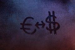 Euro a la muestra del cambio del Dólar Imagen de archivo libre de regalías