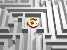 Euro in labyrinth Stock Images