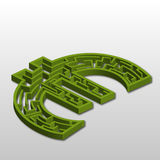 Euro Labyrinth. A silhouette of the euro symbol as a maze Royalty Free Stock Images