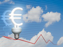 Euro lampadina economica Fotografia Stock Libera da Diritti